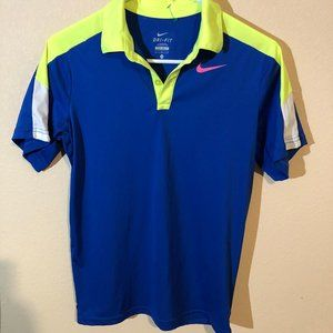 Nike Dri-Fit Men's Blue Lime Short Sleeves Shirt